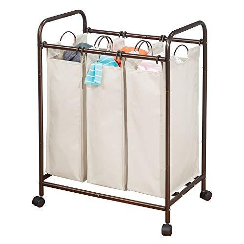 mDesign Wäschesortierer mit 3 Fächern und Rollen - praktischer Wäschekorb aus Metall und Polyester - geräumige Wäschebox fürs Bad oder die Waschküche - bronzefarben und cremefarben