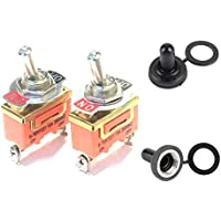 KINYOOO 6 PCS AC 250V 15A ON-Off 2 Pins 2 Position Mini Toggle Switch with Waterproof Cap Toggle Switch for Car Auto Truck Boat