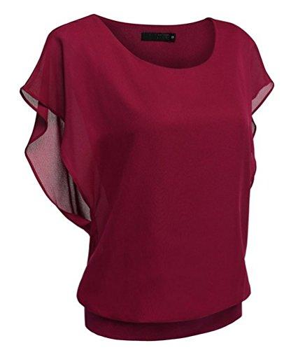 Ghope Damen Sommer Chiffon Shirt Loose Fit Kurzarm Rundhals Fledermaus Batwing T-Shirt Tunika Blusen Oberteile Top Rot