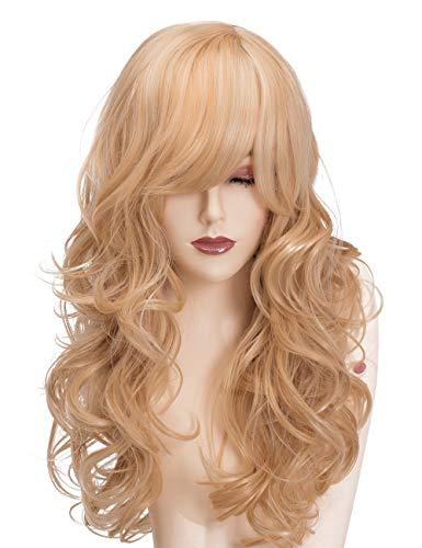 HIASAN lange lockige Perücke mit Side Bang Blonde Kunsthaar gewellte Perücken für Frauen Cosplay Kostüm(EINWEG)