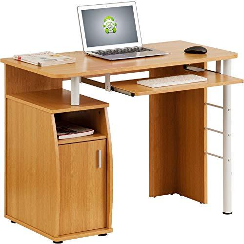 Kompakter Computer Schreibtisch Arbeitsplatz mit Schrank Regalfach in Eiche Piranha Furniture PC 1o