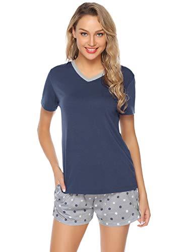 Aibrou Damen Pyjama Schlafanzug Baumwolle Kurz Streifen Nachtwäsche Nachthemd Hausanzug Set Kurzarm Rundhals-Ausschnitt für Sommer Orange XL
