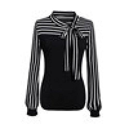 Damen Kleidung, erthome Frauen Tie-Bow Neck Striped Langarm Spleiß Shirt Bluse (Schwarz, XXXL) (Striped-shorts Plaid)
