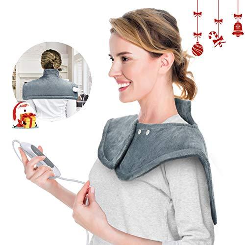 Almohadilla Eléctrica Térmica OMORC 50×56cm para cuello, espalda y cervicales lumbares, Lavable, Calentamiento Rápido 3min, 3 Niveles Temperaturas, Aliviar el dolor muscular, Anti-sobrecalentamiento