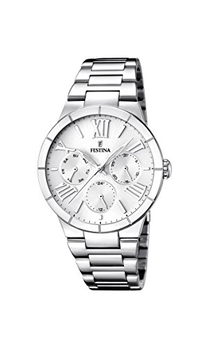 Festina Women's Quartz Watch with White Dial Analogue Display and Silver Stainless Steel Bracelet F16716/1