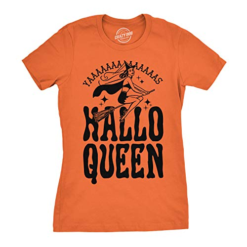 minorista online seleccione para genuino 2019 mejor venta Crazy Dog Tshirts - Womens HalloQueen Shirt Funny Halloween Queen tee for  Ladies Cute Costume T Shirt (Orange) - S - Camiseta para Mujer
