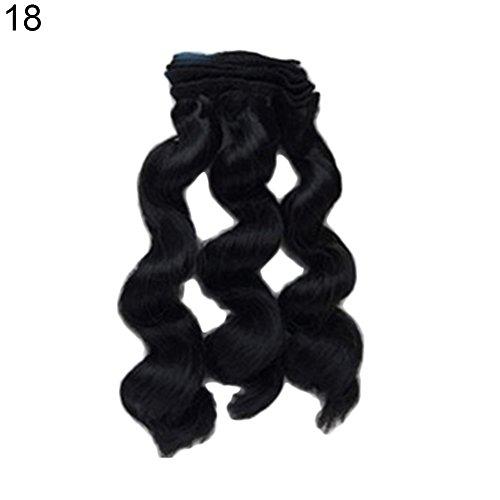 Peluca de 15 cm, pelo rizado para reparación de barbies, accesorios de colores sólidos, juguetes para niños