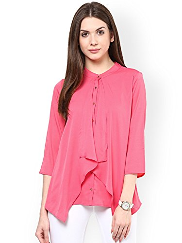 Rare Women's Georgette Layered Top with Cut-Out Detail(Pink, Medium)