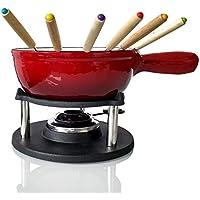 Big BBQ Gusseisen Fondue Käsefondue Emaille beschichtet rot