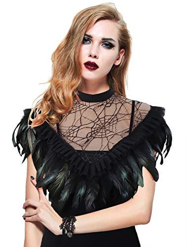 keland Damen Gotische Feder Cape Schal Choker kragen Halloween-Kostüm (Schwarz-002) (Halloween Damen Capes Für)