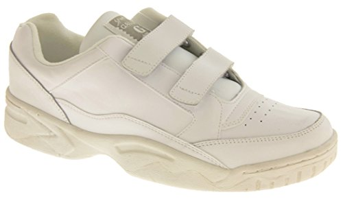 Gaudi Lynton Cuir Velcro Baskets de Sport Casual Hommes Blanc