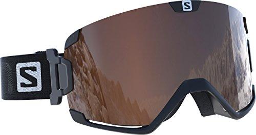 Salomon L39339900 Maschera da sci Unisex per chi porta gli occhiali da vista, Per tutte le condizioni atmosferiche, Lente Arancione (intercambiabile), COSMIC ACCESS, Sistema Airflow, Nero, Taglia: M/L