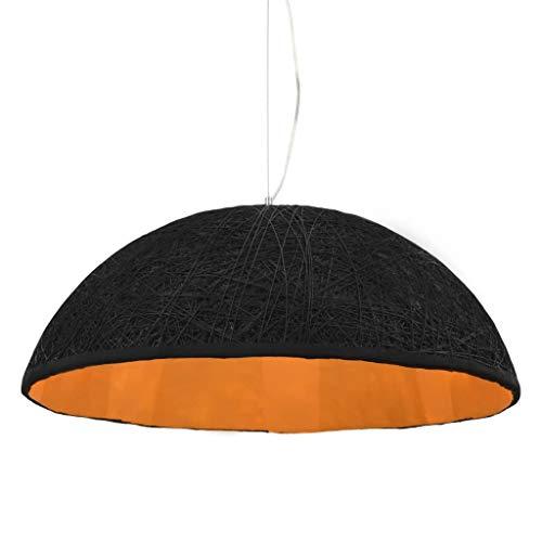 vidaXL Lámpara Techo Salón Dormitorio Semiesférica Diseño Original Papel Trenzado Imitar Ratán Mimbre Luz Colgante Semiesfera Negro Dorado 70 cm E27