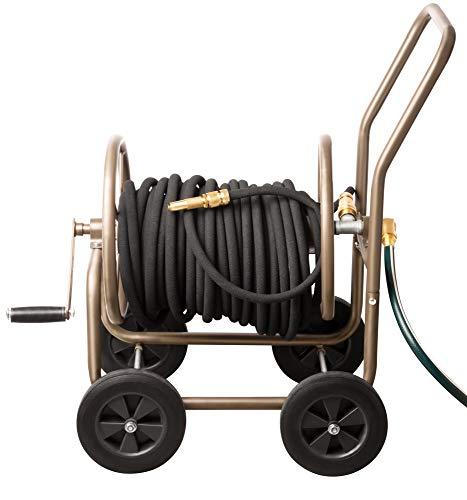 UPP Schlauchwagen Deluxe mit Schutzhülle | Premium Vollmetall Schlauchwagen erfüllt alle Bedürfnisse | Schlauchtrommel mit Platz für 60 m Gartenschlauch