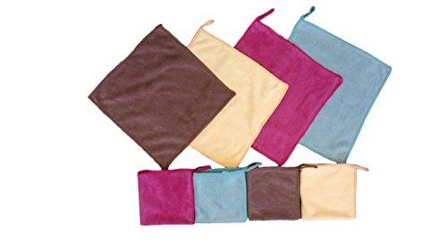 YSN Home Collection - YSN 99 - Mikrofaser Waschlappen 4 STÜCK Gemischte Farben - 25x25 cm - 4 Farben: Rosa Gelb Braun Blau (Urlaub Waschlappen)