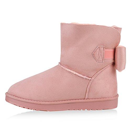 Warm Gefütterte Damen Stiefeletten Schlupfstiefel Boots Schleifen Rosa