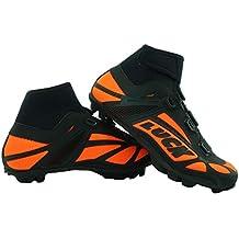 LUCK Zapatillas de Ciclismo para Invierno Winter Naranja MTB, con Suela de Carbono SHD,