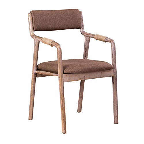 MMZZ Chaise de Salle à Manger en Bois Massif rétro, Fauteuil de Loisirs, Design Ergonomique en Coton Respirant, pour Restaurant/hôtel/café/Bureau/Chambre