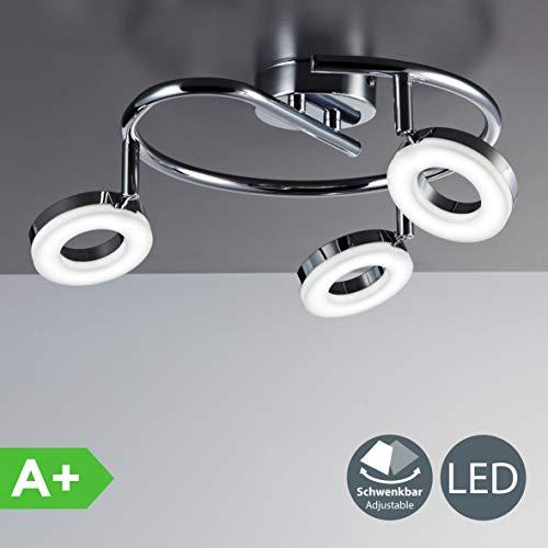 B.K.Licht LED Deckenleuchte I dreh- & schwenkbar I Chrom I 3 x 4,5W 450LM LED Platine I IP20 I warmweiß 3000K I Deckenlampe - Ein K-lampe