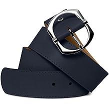 149f7ad75dc61f CASPAR Damen eleganter breiter Jeans Gürtel aus weichem Nappaleder mit silberner  Schnalle MADE IN ITALY -