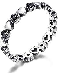Co & Lacodier Niña Plata de Ley 925 Corazón Anillo, con Negro Cúbico Zirconia Cristal Compromiso Anillos Mejor…
