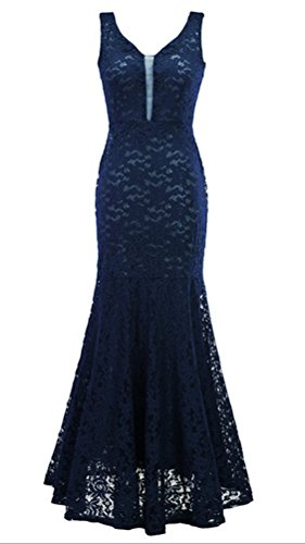 Arkind Kleid Party Kleid Abend V-col Fishtail Ohne Arm Spitze elegant Blau Foncé