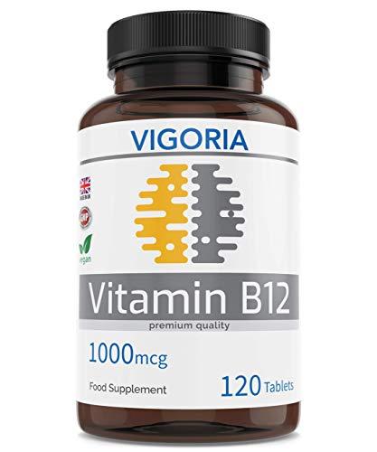 Vitamin B12 für ein gesundes Nervensystem und Immununterstützung - Müdigkeit und Ermüdung reduzieren - 1000 mcg 120 Einfache Absorption Tabletten - 4 Monatsvorrat GVO-frei und ohne Zusatzstoffe Vegan -