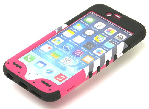 bastex Heavy Duty 3pièces en silicone noir coque avec béquille pour Apple iPhone 6, 11,9cm 6ème génération-Coque rigide Rose Motif ancre et chevron Noir * * * * * * * * * * * * * * *