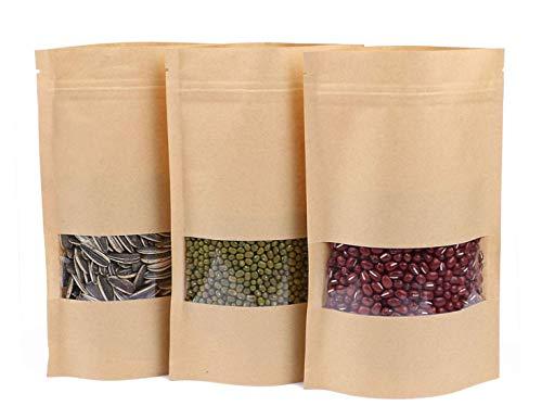 SZJJI 50 Pack réutilisable ziplock Grip Standable Seal Sacs imperméable Brun Kraft Papier Stand up Pochette avec fenêtre Transparente Nourriture Rangement Pochettes Sac