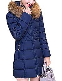 da550527d9a0 BIRAN Doudoune Manteau Femme Longues Warm Épaissir Hiver Manteau avec  Capuchon Fourrure Manches Longues Elégante Mode