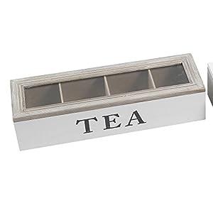 Boîte à thé 4compartiments 34x 11x 8cm   Boîte de rangement pour sachets de thé