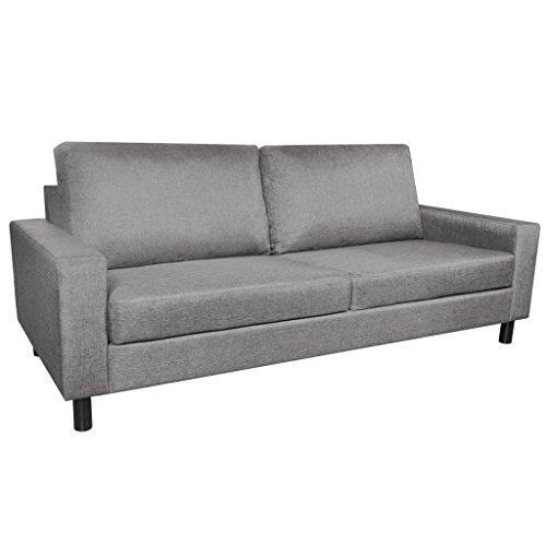 Tidyard 3-Sitzer Sofa, 3 Sitzer Polstersofa, Stoffsofa Mit Armteilfunktion, 196 × 87 × 81 cm (B × T × H), Hellgrau/Dunkelgrau Optional