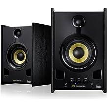 Hercules XPS 2.0 80 DJ Monitor - Altavoces para DJ 2.0, 80 W, cupulas de seda, conector RCA, TRS, ajustes de bajos/agudos