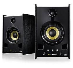Hercules XPS 2.0 80 DJ Monitor (2.0 Lautsprecher, 80 W, Lautstärke-/Bass-/Höhenregler, On/Off Schalter, Kopfhörer-/AUX-Eingang)