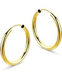 Miore Damen Gelbgold Creole Ohrringe 14KT (585) 2 mm