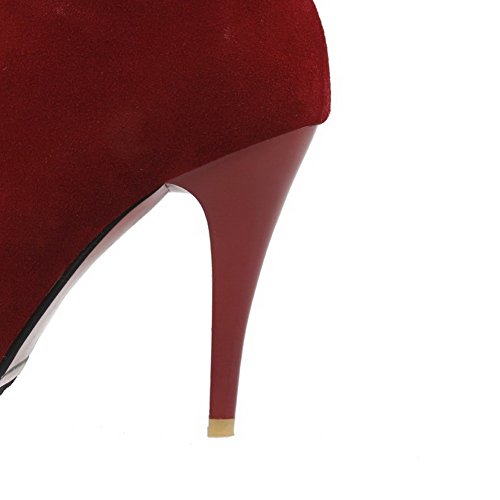 VogueZone009 Femme Couleur Unie Dépolissement à Talon Haut Zip Rond Bottes Rouge