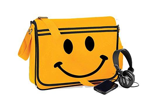 Smiley Face-Unisex-lustige Sprüche Neuheit Retro Messenger Bag- Gold