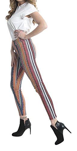 ANAISSA Damen Formende Leggings Legging Trendy Bunt
