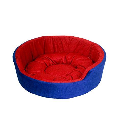 Gorgeous Ultra Soft Round Reversable Red - Blue colour Dog/Cat Velvet Bed -XXL
