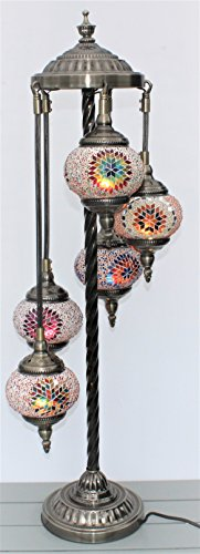 Turkish Floor Lamp, 5 Hand Made Glass Shades and Metal Support Frame Spiral Effect Stunning Shadows CE ROHS