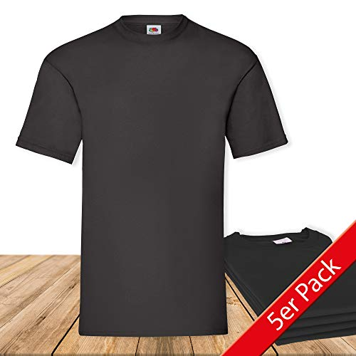 Fruit of the Loom Original Valueweight T Rundhals T-Shirt F140 5er Pack- Gr. L, Black