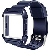 Hualieli para Fitbit Blaze Smart Fitness Watch Bandas Slim Marco de protección con correas, azul