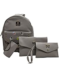 Bagzar Set of 4 in 1 Combo Backpack Waterproof and Leather Made Mini College and Schoolbag for Girls & Women with Gold dots and Flower Design
