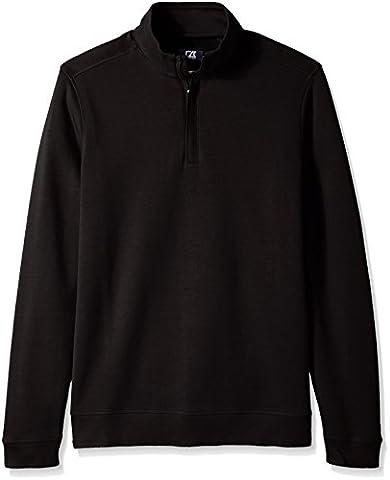 Cutter & Buck Men's Big and Tall Long Sleeve Pima Decatur Half-Zip, Black, 4X/Big