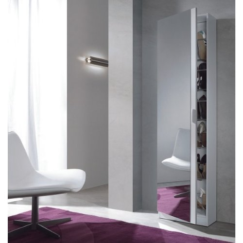 Habitdesign 007866BO - Zapatero con espejo color Blanco Brillo, medias: 180 x 50 x 20 cm de fondo