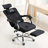 Yichaoya Wuzpx Möbel RC-10-1 Computer Stuhl Bürostuhl Home Esports Net Tuch Angehoben Gedrehte Fußstütze Lehnstuhl mit Aluminiumlegierung Füße (Schwarz) (Farbe : Black)