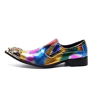 XLY Herren Spitzschuh Smoking Oxford Schuhe Formelle Leder Metallspitze Kleid Hochzeitsschuhe,44