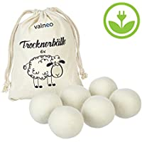 VALNEO 6 Trockner-Bälle aus 100% natürlicher Schafswolle für den Wäschetrockner, schonend zur Wäsche, Strom- und Zeit-sparend  mit 2 Jahren Zufriedenheitsgarantie   Trocknerkugeln