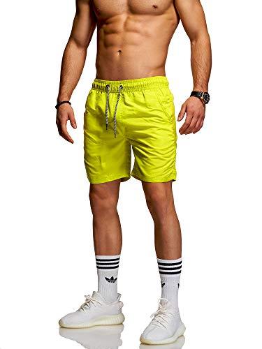 Rello & Reese Herren Badehose Badeshorts Kurze Hose Strand Swim Shorts mit verstellbarem Tunnelzug (M, Grün (Neon)) Neon-grüne Hose