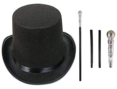Labreeze Erwachsenen-Fabrikbesitzer, schwarzer Hut und Gehstock, silberfarben, 2-teiliges Set